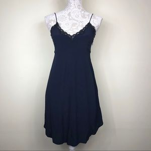 Aritzia Dresses - Aritzia Wilfred navy lace trim slip dress